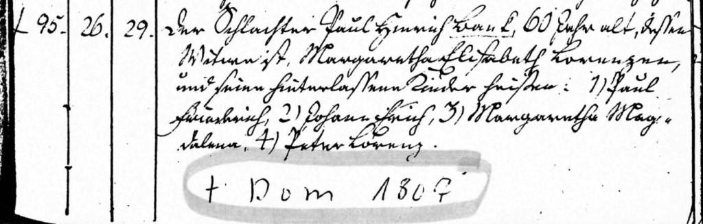 Sterberegister Schleswig 1807