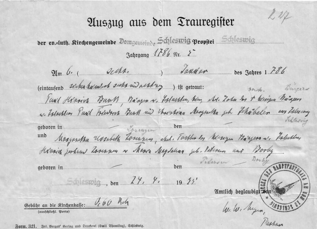 KB Schleswig - Trauung 1786