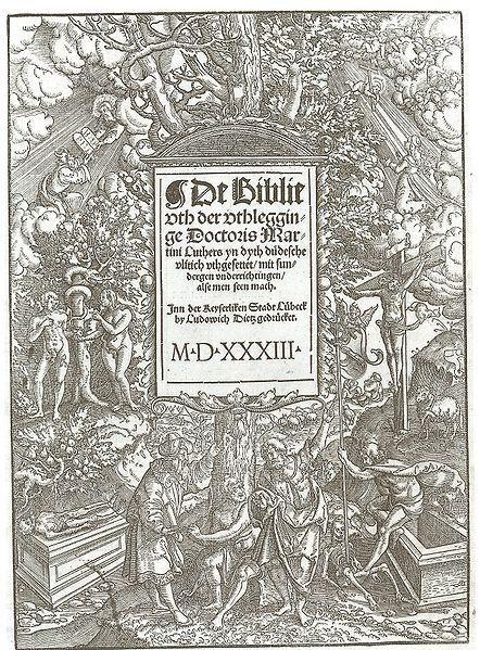 Titelblatt der Lübecker Bibel von 1533/1534