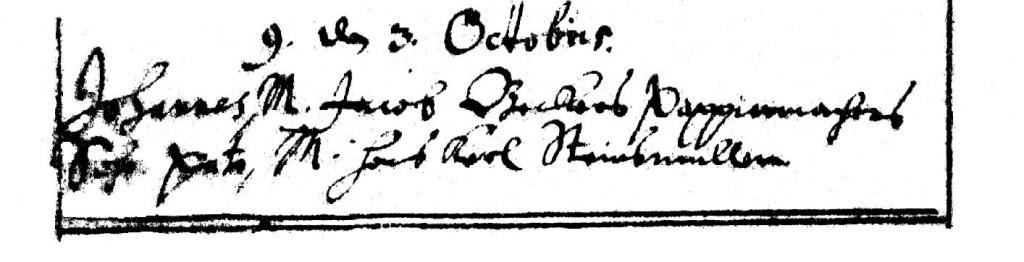 Taufeintragung Johannes Becker 1666