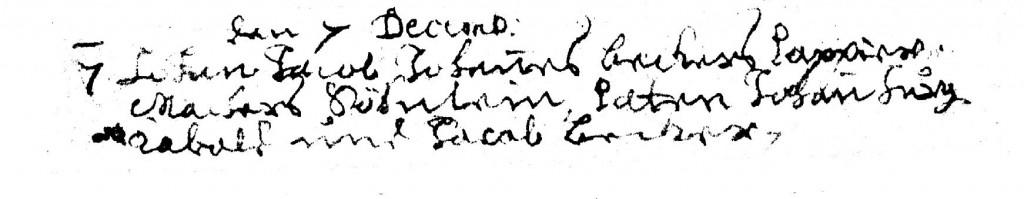 Taufeintragung Johann Jacob Becker