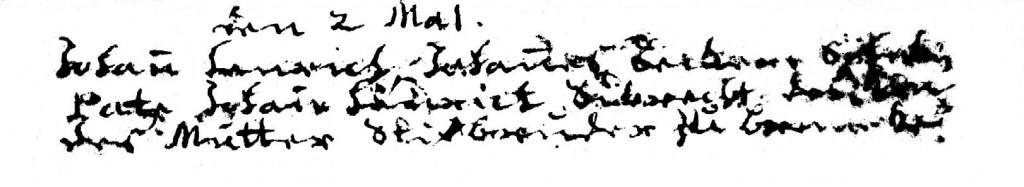 Taufeintrag Johann Heinrich Becker