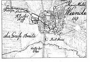 Ortsplan-Weende-mit-Papiermühle-um-1784