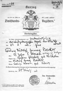 Sterbeurkunde Heinrich Becker