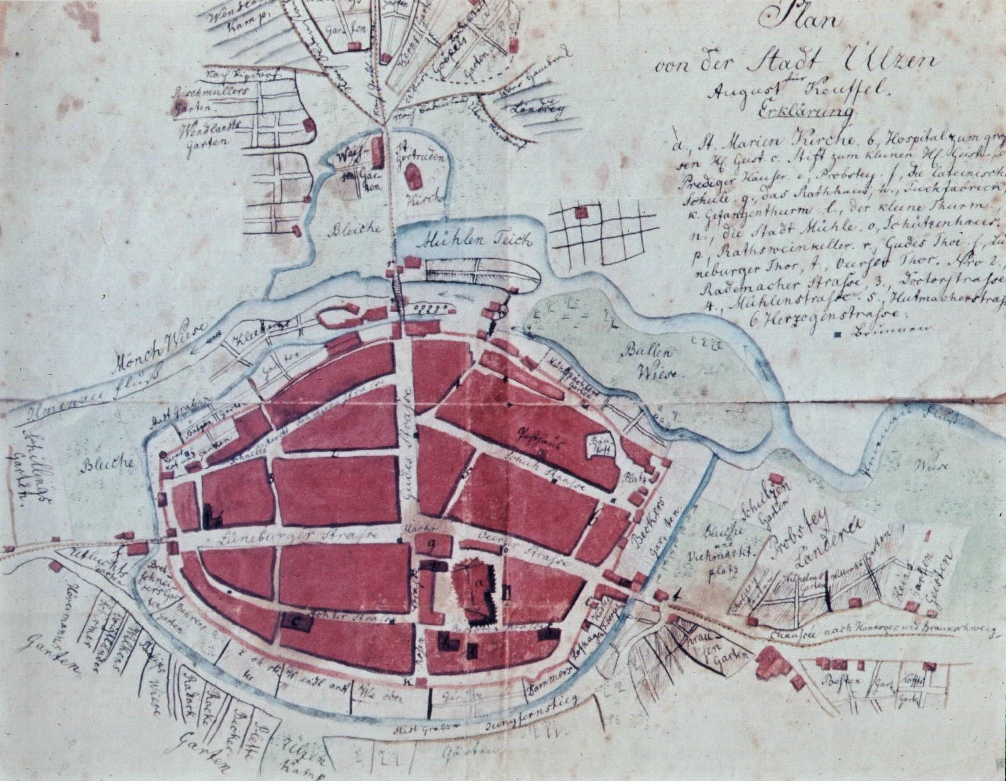 Stadtplan von Uelzen - um 1830