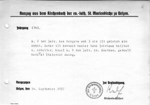 Geburtsurkunde Dieterich Georg Becker