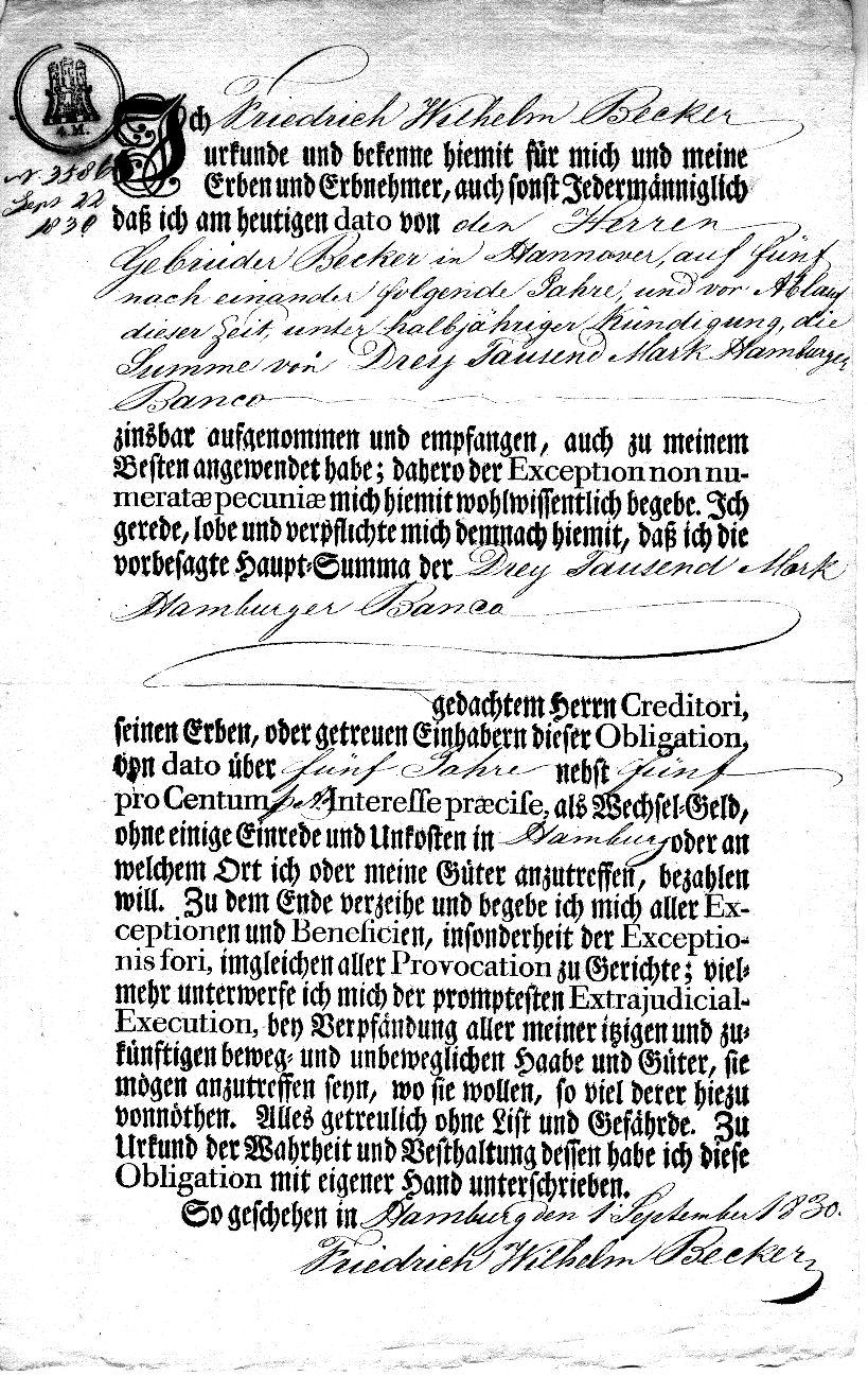 Schuldschein von Friedrich Wilhelm Becker - 1830