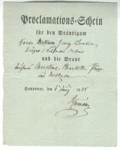 Proclamationsschein - 04.Juni 1825