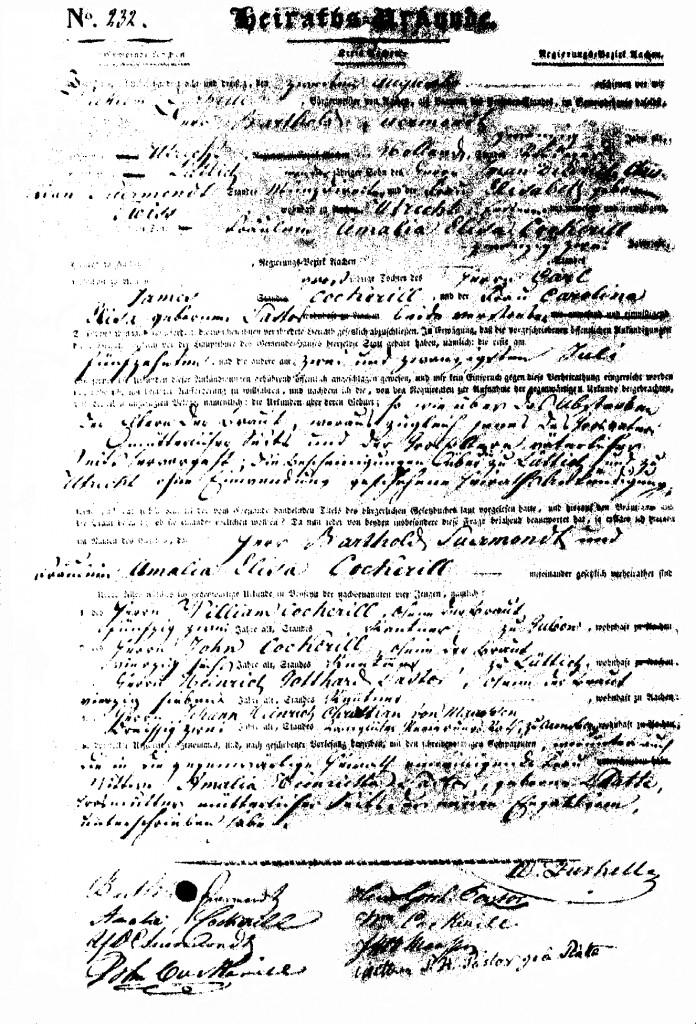 Heiratsurkunde Barthold Suermondt - Amalie El. Cockerill