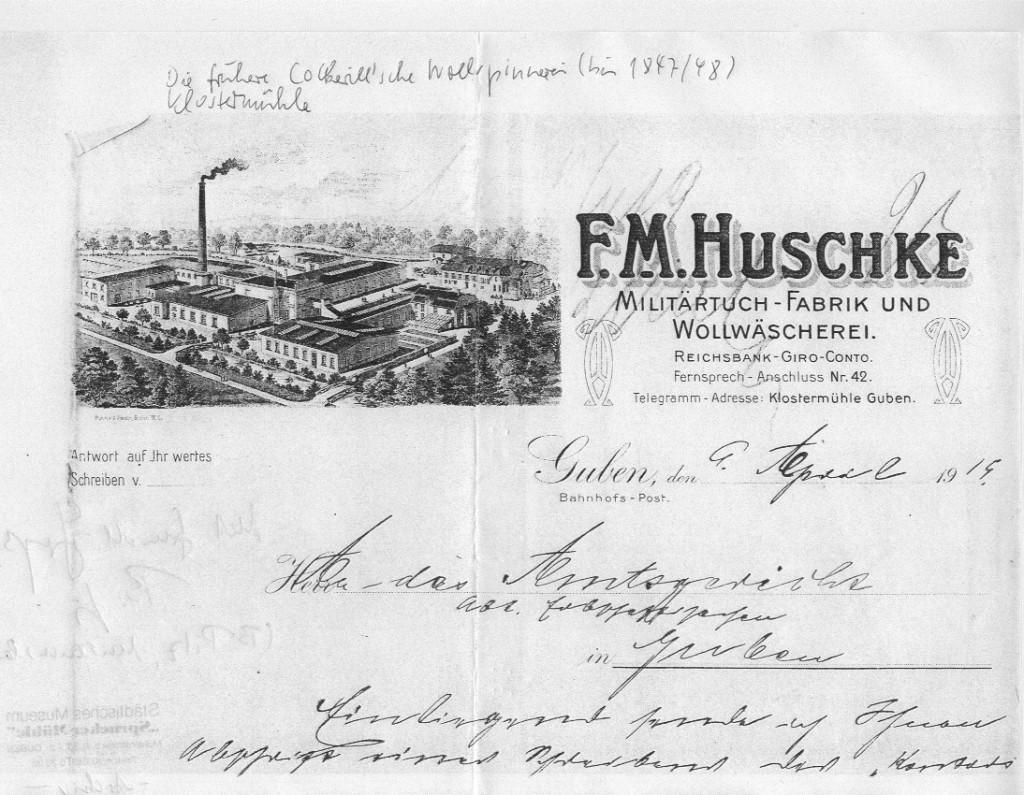 Briefkopf der ehemaligen Klostermühle in Guben
