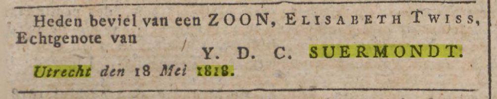 Geburtsanzeige Barthold Suermondt-1818
