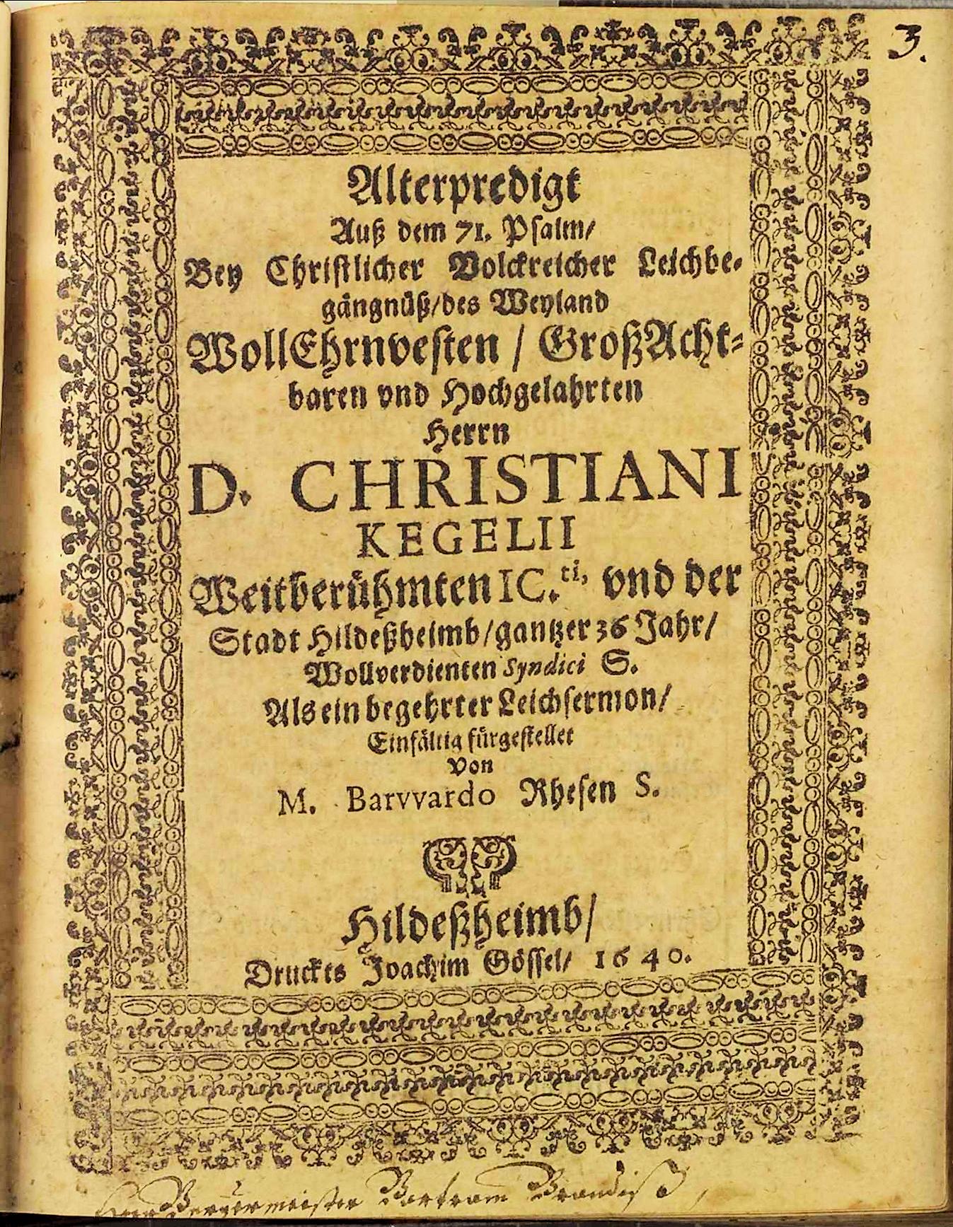 Leichenpredigt Christian Kegel