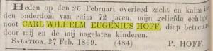 Todesanzeige von CWE Hoff, 1869