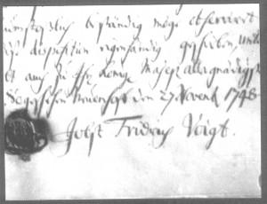 Stiftungs-Urkunde - Unterschrift