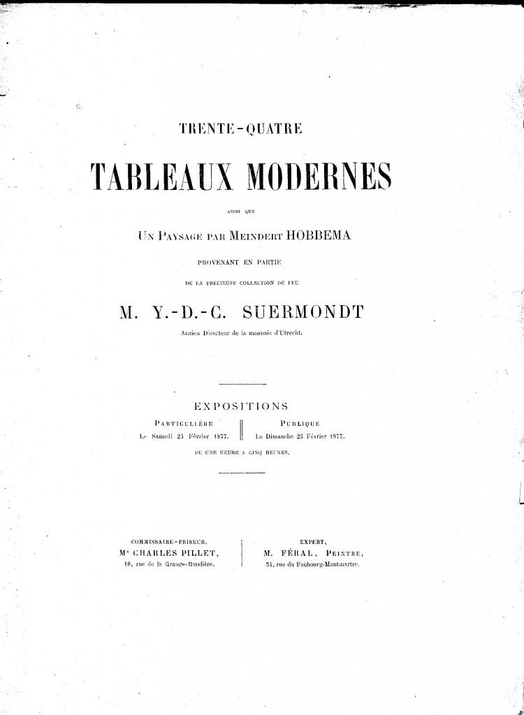 Auktions-Katalog Suermondt 1877