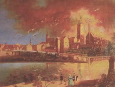 Schloßbrand 1857  in Cottbus